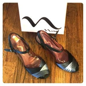 Formal Peep Toe Satin Heels / Sandals